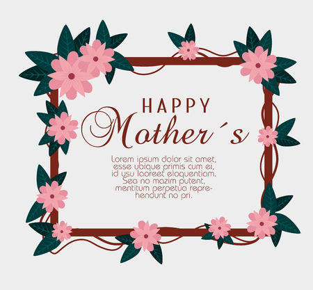 flowers with branches leaves to mothers day celebration vector illustration