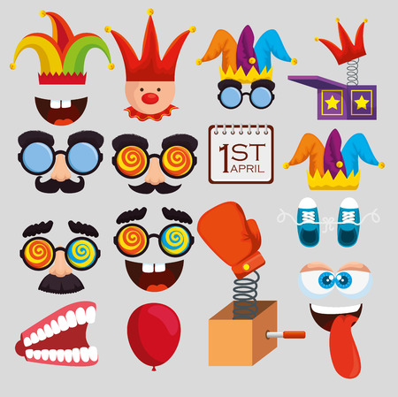 set funny entertainment things to fools day vector illustration Vetores