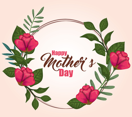 mothers day with beauty roses plants vector illustration Illusztráció