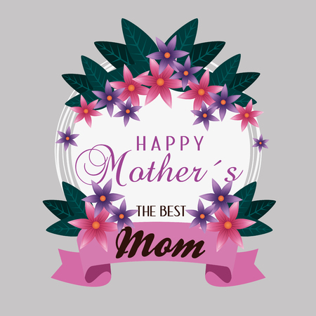 card with tropical flowers and ribbon to mothers day vector illustration