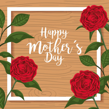 beauty roses plants to mothers day vector illustration