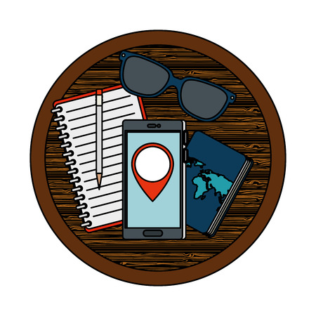 travel tourism icons in wooden table vector illustration design Ilustracja