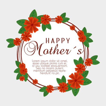 card with flowers and branches leaves to mothers day vector illustration