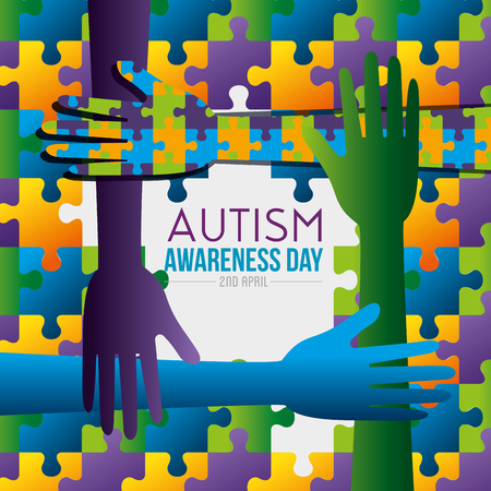 hands and puzzles background to autism day vector illustration Standard-Bild - 119237461