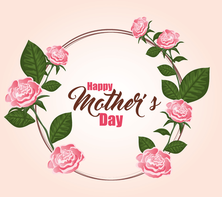 mothers day celebration with roses plants vector illustration