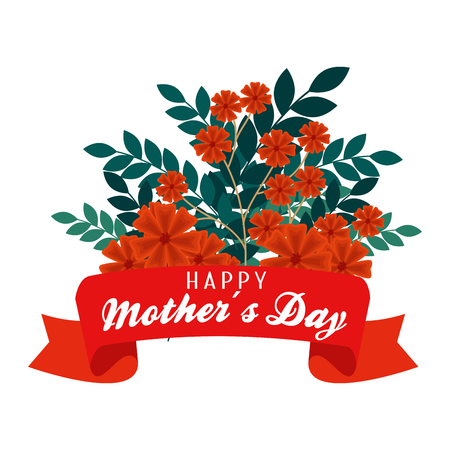 mother day celebration with flowers plants and leaves vector illustration
