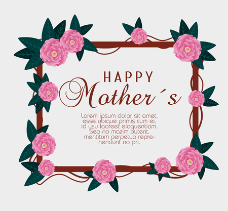 roses with branches leaves to mothers day celebration vector illustration Illusztráció
