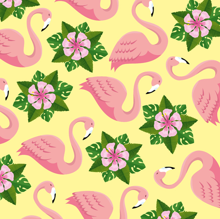 tropical flamingos and flowers with leaves background vector illustration 向量圖像