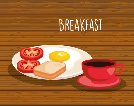 fried egg with sliced bread and coffee cup vector illustration