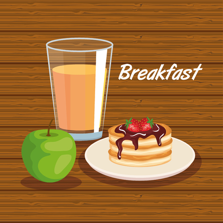 delicios pancakes with apple and orange juice vector illustration
