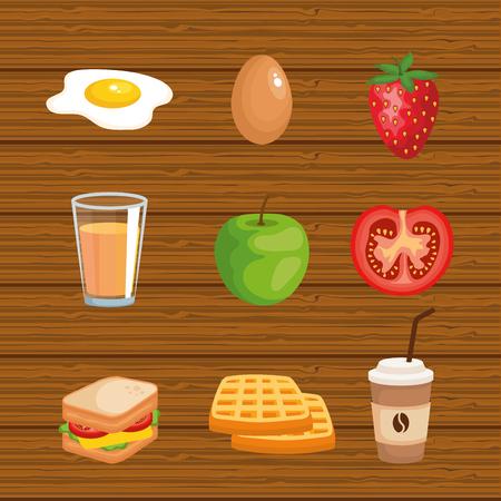 set delicious breakfast food nutrition vector illustration