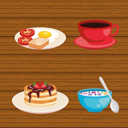 set breakfast food fresh nutrition vector illustration Banque d'images - 119237497