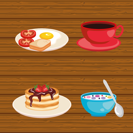 set breakfast food fresh nutrition vector illustration