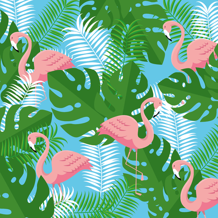 tropical flamingos with branches leaves plants vector illustration