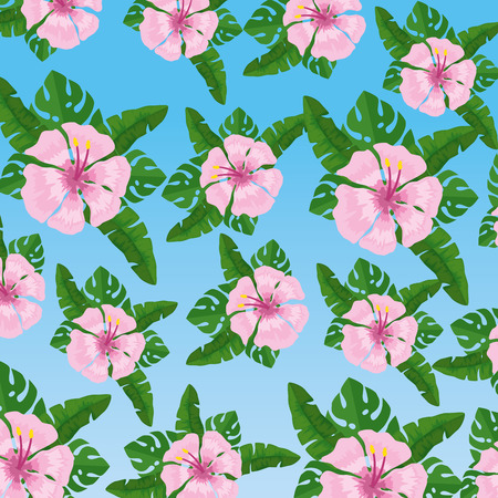 exotic flowers plants with leaves background vector illustration