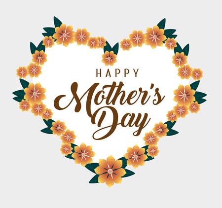 Tarjeta de corazón con flores para la ilustración de vector de día de la madre Ilustración de vector
