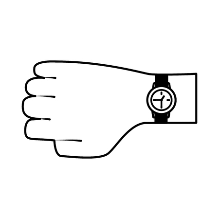 hand with wristwatch time on white background vector illustration Illustration