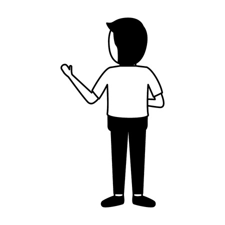 back view man standing on white background vector illustration Çizim