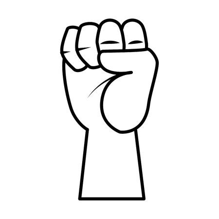 mano in alto pugno icona illustrazione vettoriale design
