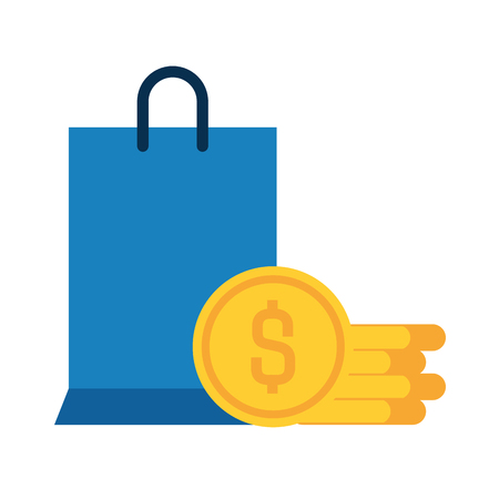 shopping bag with coins isolated icon vector illustration desing Illustration