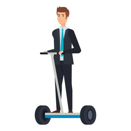 businessman in folding e-scooter vector illustration design Illustration