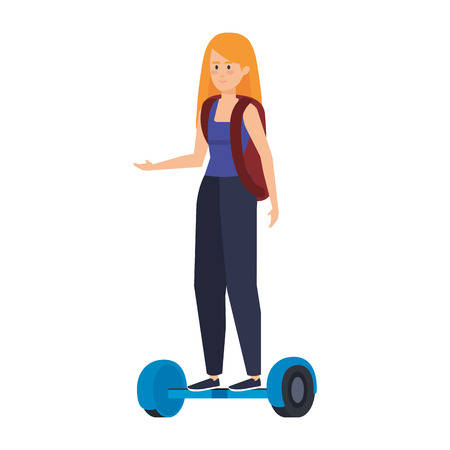 young woman in hoverboard electric vector illustration design  イラスト・ベクター素材