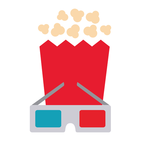 cinema glasses and popcorn isolated icon vector illustration design Ilustrace