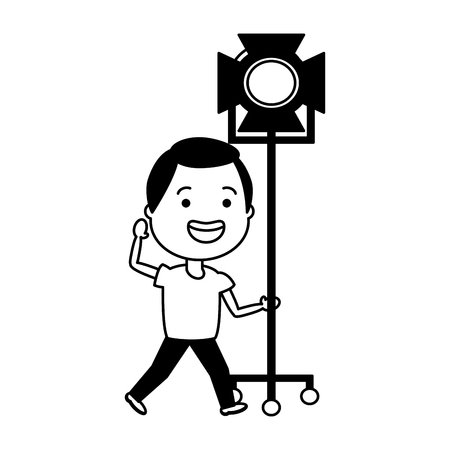 man with movie objects avatar character vector illustration desing