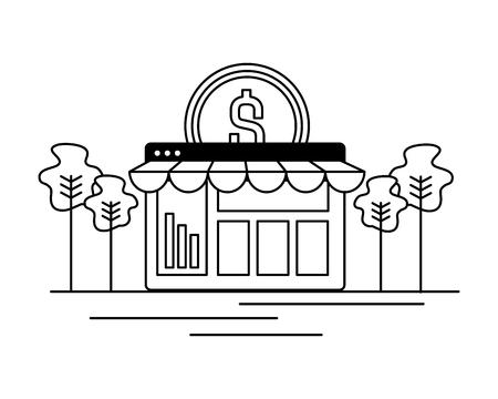 online shopping money coin commerce vector illustration Archivio Fotografico - 119420842