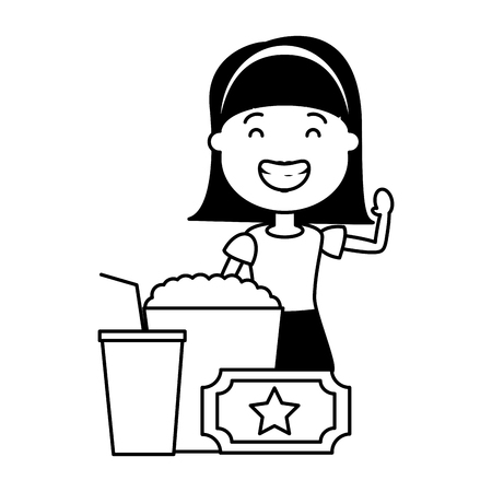 woman with popcorn and tickets avatar character vector illustration desing 일러스트