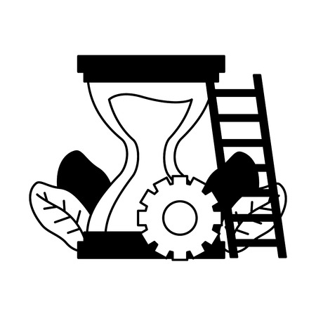 work hourglass clock stairs gear vector illustration