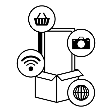 smartphone device with ecommerce icons vector illustration design