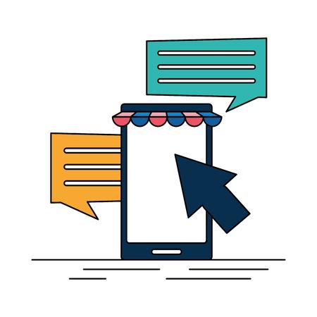 cellphone online shopping message speech bubble vector illustration Reklamní fotografie - 119467605