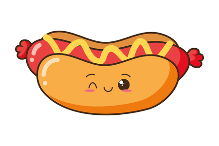 cartoon hot dog white background vector illustration