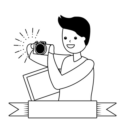 man taking photo with camera - my hobby vector illustration