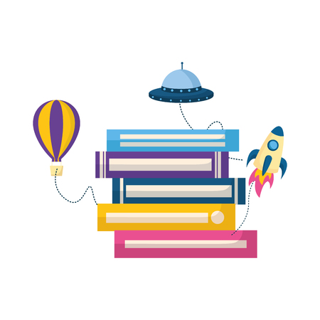 world book day imagination rocket plane ufo vector illustration