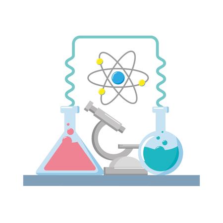 science laboratory tools test tube microscope vector illustration Ilustrace