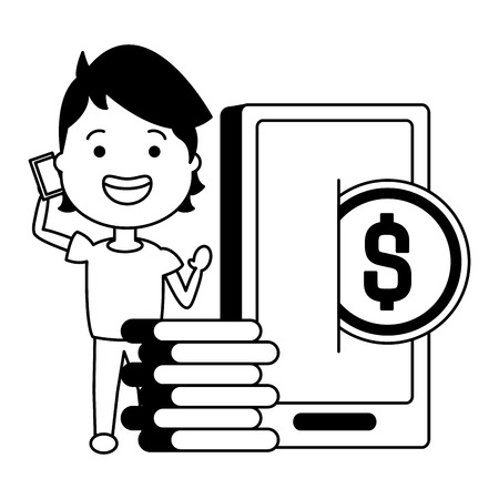 woman using smartphone with coins dollars vector illustration design Banque d'images - 119535070
