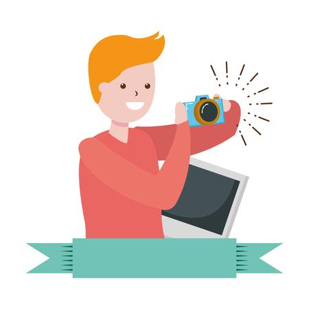 man taking photo with camera - my hobby vector illustration Imagens - 119536824