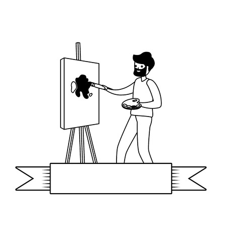 man painting a picture - my hobby vector illustration 일러스트