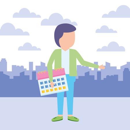 businessman calendar planner reminder work, vector illustration