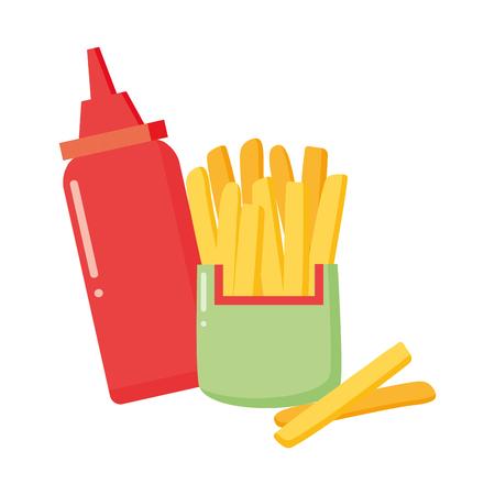 salsa di patatine fritte su sfondo bianco illustrazione vettoriale Vettoriali