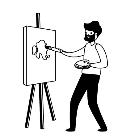 man painting a picture in the easel - my hobby vector illustration Archivio Fotografico - 119432846