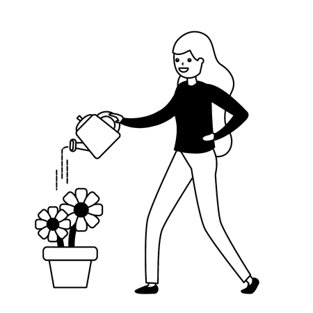 woman watering can flowers gardening - my hobby vector illustration