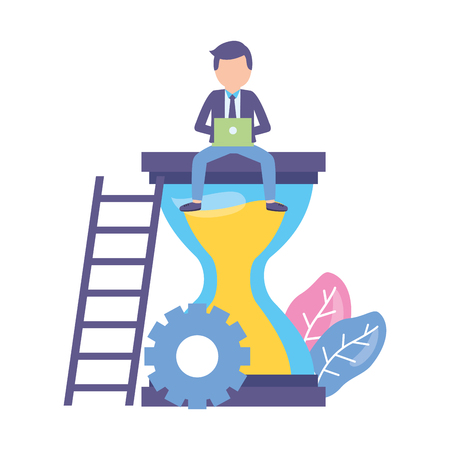 businessman with laptop sitting on hourglass vector illustration Vektorové ilustrace