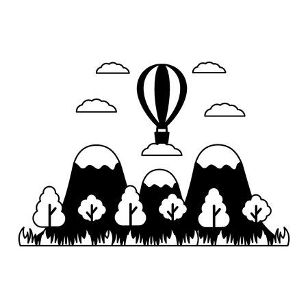 landscape hot air balloon mountains trees vector illustration