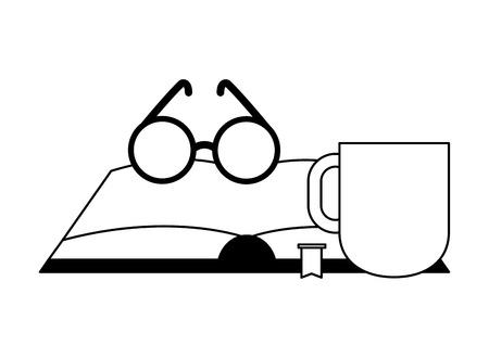 opne book eyeglasses and coffee vector illustration Иллюстрация