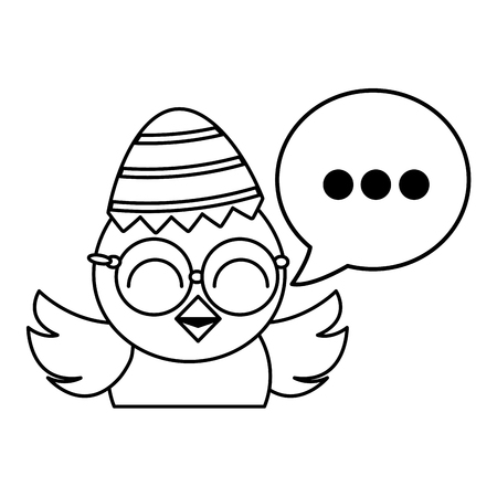cute little chick with sheel egg broken and speech bubble vector illustration design Illustration