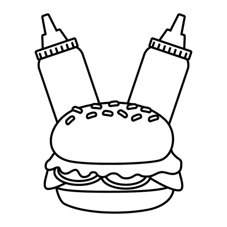 burger and sauces on white background vector illustration