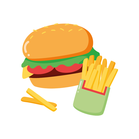 burger and french fries on white background vector illustration Banque d'images - 124267920